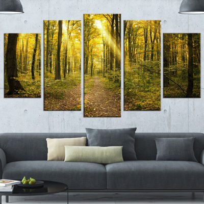 Designart Sunset in Green Autumn Forest Modern Forest CanvasArt - 5 Panels