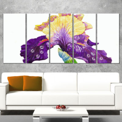 Blooming Blue Yellow Iris Floral Wrapped Canvas Art Print - 5 Panels