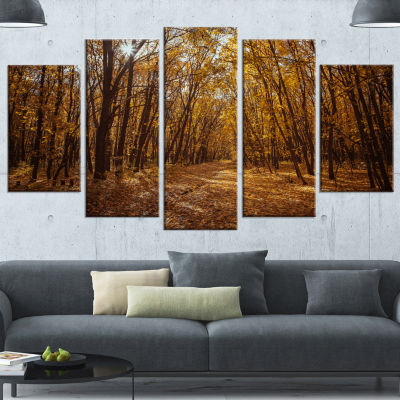 Designart Sunset in Yellow Autumn Forest Modern Forest Wrapped Art - 5 Panels
