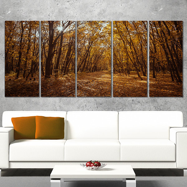 Sunset in Yellow Autumn Forest Modern Forest Canvas Art - 5 Panels