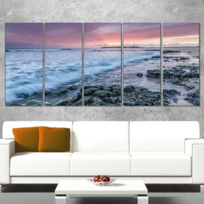 Designart Sunset on Cape Trafalgar Beach SeascapeWrapped Art Print - 5 Panels
