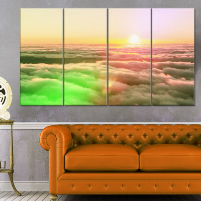 Designart Sunset on Hills Above Clouds Landscape Canvas ArtPrint - 4 Panels