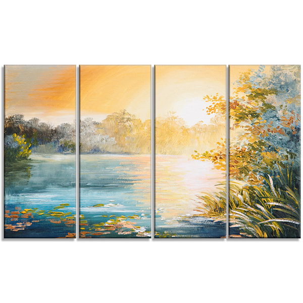 Designart Sunset on the Lake Landscape Art Print Canvas - 4Panels