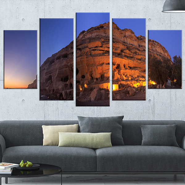 Designart Sunset on the Matala Beach Greece Seashore WrappedArt Print - 5 Panels