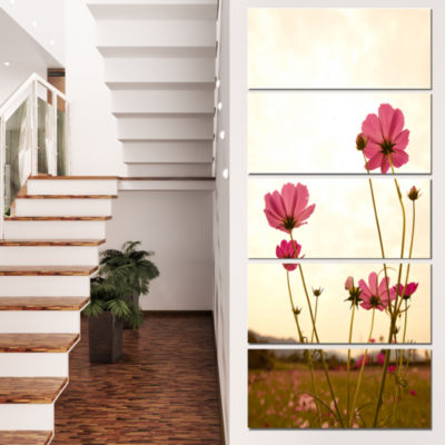 Designart Blooming Cosmos Flower Field Floral Canvas Art Print - 5 Panels