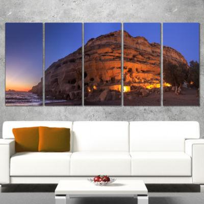 Designart Sunset on the Matala Beach Greece Seashore CanvasArt Print - 5 Panels