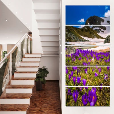 Designart Blooming Crocus Flowers in Rila Mountains Landscape Canvas Art Print - 4 Panels