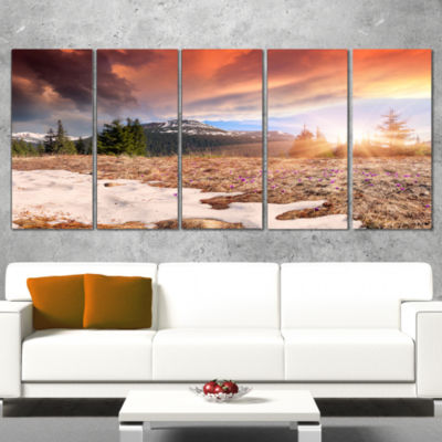 Designart Blooming Crocuses in Mountains LandscapePhotography Canvas Print - 5 Panels