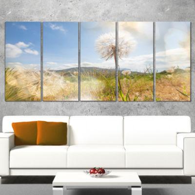 Blooming Dandelion Under Bright Sky Floral CanvasArt Print - 4 Panels