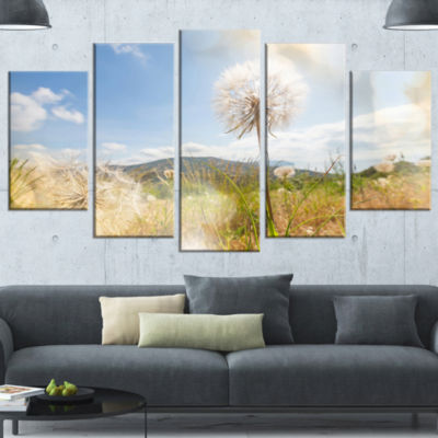 Blooming Dandelion Under Bright Sky Floral WrappedCanvas Art Print - 5 Panels