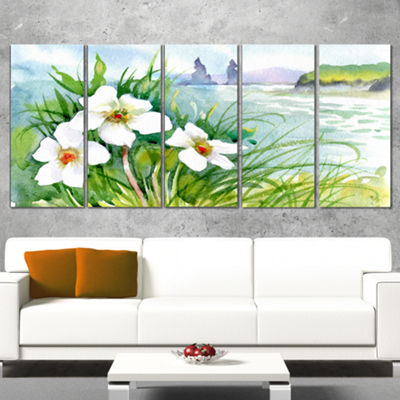 Designart Blooming Flowers On Summer River Landscape ArtworkWrapped Canvas - 5 Panels