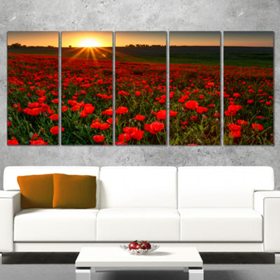 Designart Sunset Over Garden with Red Poppies Floral WrappedArt Print - 5 Panels
