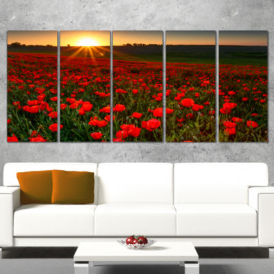 Designart Sunset Over Garden with Red Poppies Floral CanvasArt Print - 5 Panels