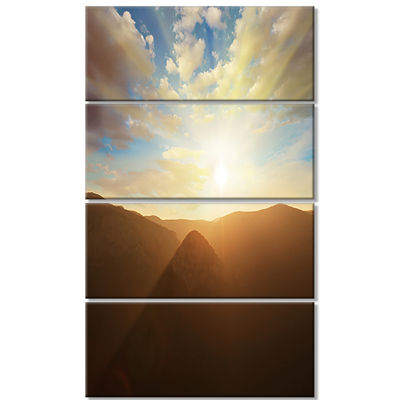 Designart Sunset Over Gloomy Mountains African Landscape Canvas Art Print - 4 Panels