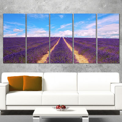 Designart Blooming Lavender Flower Field OversizedLandscapeWrapped Wall Art Print - 5 Panels