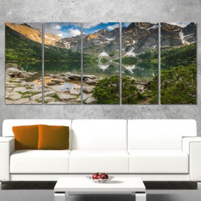 Designart Sunset Over High Mountains Landscape Canvas Art Print - 5 Panels