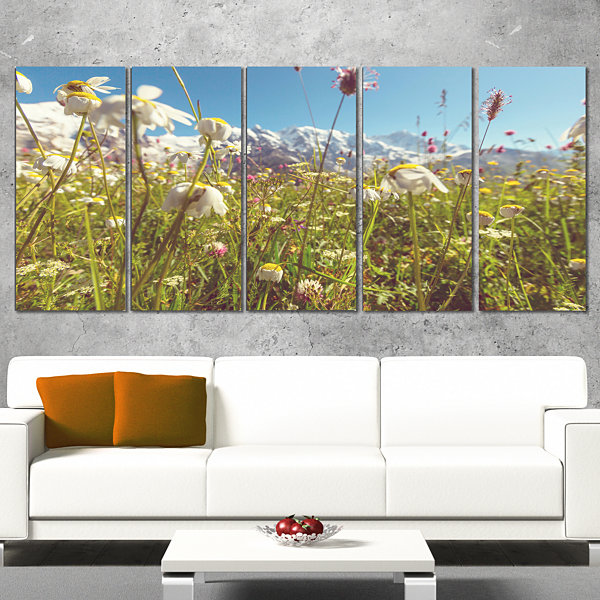 Designart Blooming Mountain Meadow Flowers LargeFlower Wrapped Canvas Art Print - 5 Panels