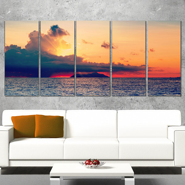 Designart Sunset Over Sea indian Ocean Panorama Extra LargeSeascape Art Canvas - 4 Panels