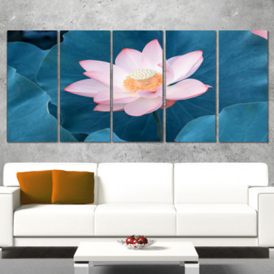 Designart Blooming Pink Lotus Flower Oversized Beach Wrapped Canvas Artwork - 5 Panels