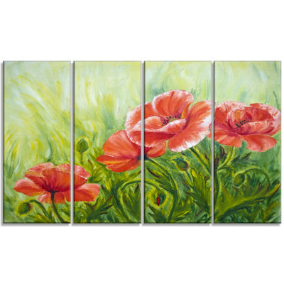 Designart Blooming Poppies with Green Leaves LargeFloral Wall Art Canvas - 4 Panels