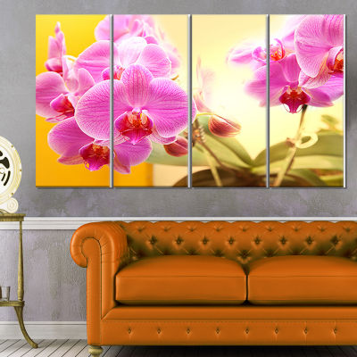Designart Blooming Purple Orchid Flowers Floral Canvas Art Print - 4 Panels