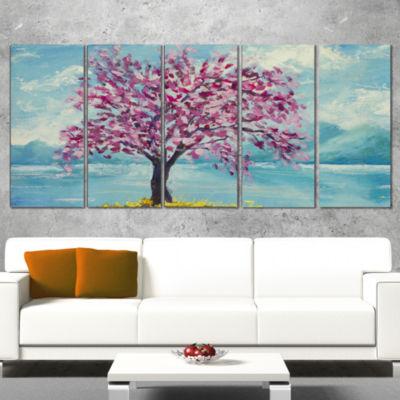 Designart Blooming Sakura Flowers Floral Art Wrapped CanvasPrint - 5 Panels