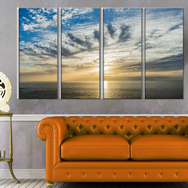 Designart Sunset Sky Above atlantic Oversized Beach Canvas Artwork - 4 Panels