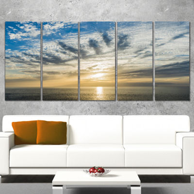 Designart Sunset Sky Above atlantic Oversized Beach WrappedArtwork - 5 Panels