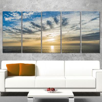 Designart Sunset Sky Above atlantic Oversized Beach Canvas Artwork - 5 Panels