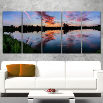Designart Sunset Sky Mirrored in Lake Water Landscape CanvasArt Print - 4 Panels