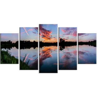 Designart Sunset Sky Mirrored in Lake Water Landscape Wrapped Art Print - 5 Panels
