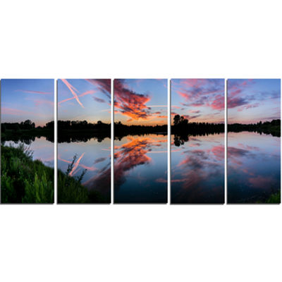 Designart Sunset Sky Mirrored in Lake Water Landscape CanvasArt Print - 5 Panels