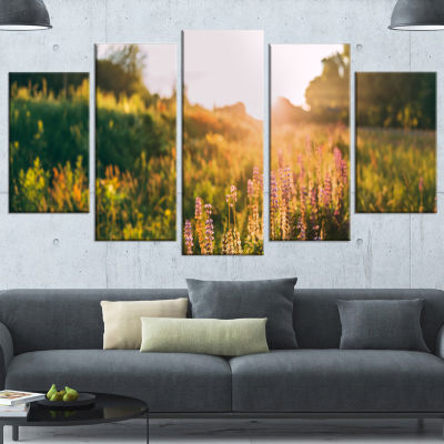 Designart Bloomy Glade of Wild Flowers Large Landscape Canvas Art - 4 Panels