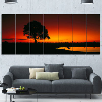 Designart Sunset View in Tanzania African Landscape Canvas Art Print - 7 Panels