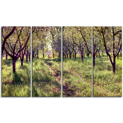 Designart Blossom Apples Garden Photography CanvasArt Print- 4 Panels