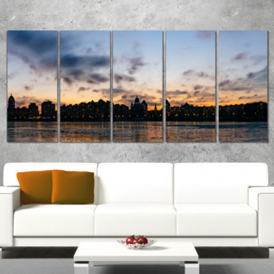 Designart Sunset with Clouds in Kiev Panorama Cityscape Wrapped Art Print - 5 Panels