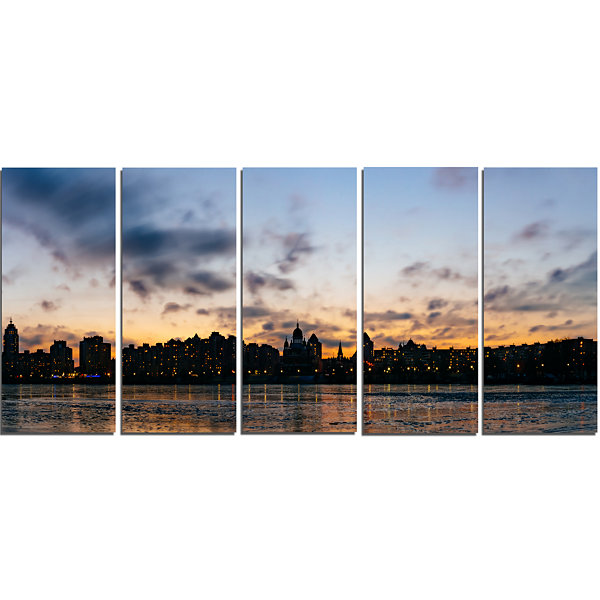 Designart Sunset with Clouds in Kiev Panorama Cityscape Canvas Art Print - 5 Panels