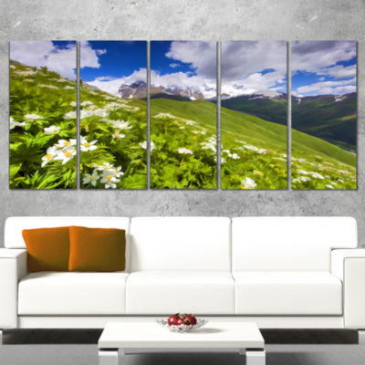 Designart Blossom Flowers in Mountains LandscapeArtwork Canvas - 4 Panels