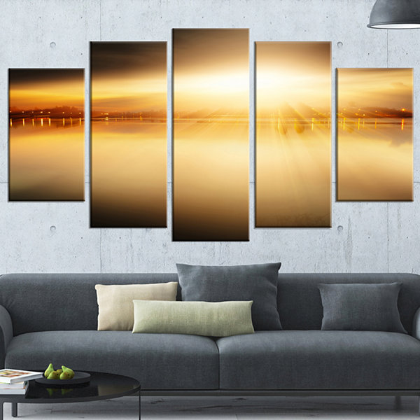 Designart Sunset with Views on the Lake Extra Large WrappedWall Art Landscape - 5 Panels