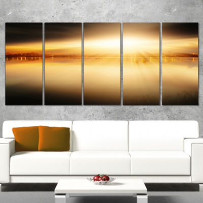 Designart Sunset with Views on the Lake Extra Large Wall ArtLandscape - 5 Panels