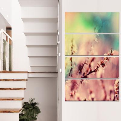 Designart Blossoming Pink Cherry Branches FloralArt CanvasPrint - 4 Panels