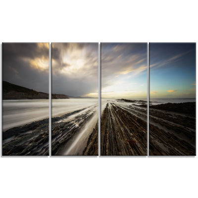 Designart Surreal atlantic Ocean Coast Seashore Photo CanvasArt Print - 4 Panels