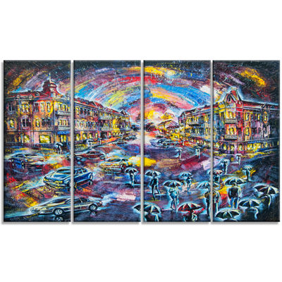 Designart Surreal City at Night Cityscape Large Canvas Artwork - 4 Panels