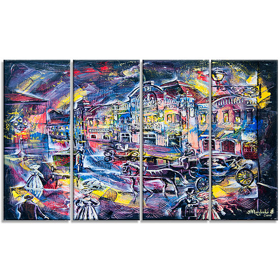 Designart Surreal City in Graphics Abstract CanvasArt Print- 4 Panels