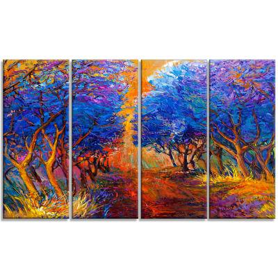 Designart Blue Autumn Forest Landscape Art PrintCanvas - 4 Panels