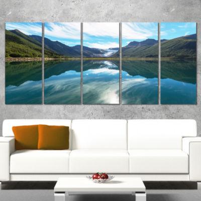 Designart Svartisen Glacier in Norway Landscape Wrapped ArtPrint - 5 Panels