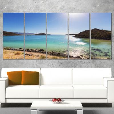 Designart Blue Baja California Beach Seashore Wrapped Canvas Art Print - 5 Panels