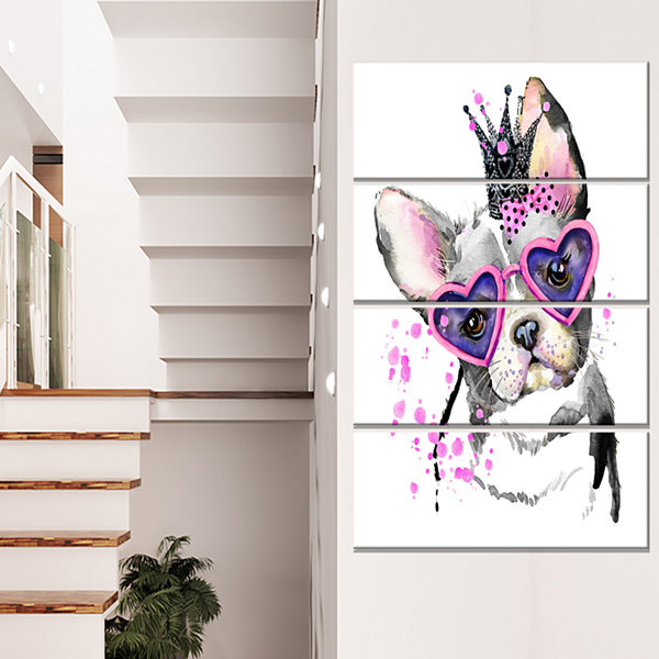 Designart Sweet Funny Dog with Glasses Animal Canvas Wall Art - 4 Panels