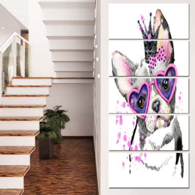 Designart Sweet Funny Dog with Glasses Animal Canvas Wall Art - 5 Panels