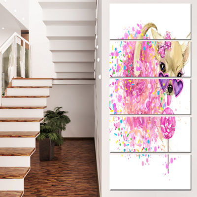 Designart Sweet Pink Dog with Glasses Animal Canvas Wall Art- 4 Panels